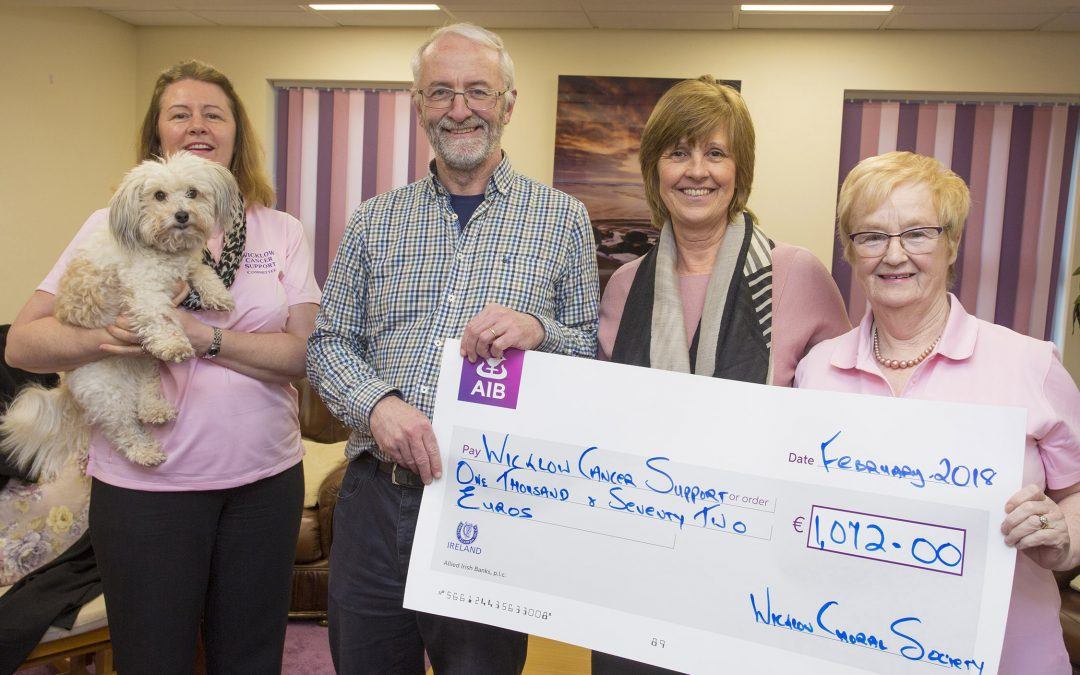 WCS Carol Concert Donation presented to Wicklow Cancer Support – February 2018